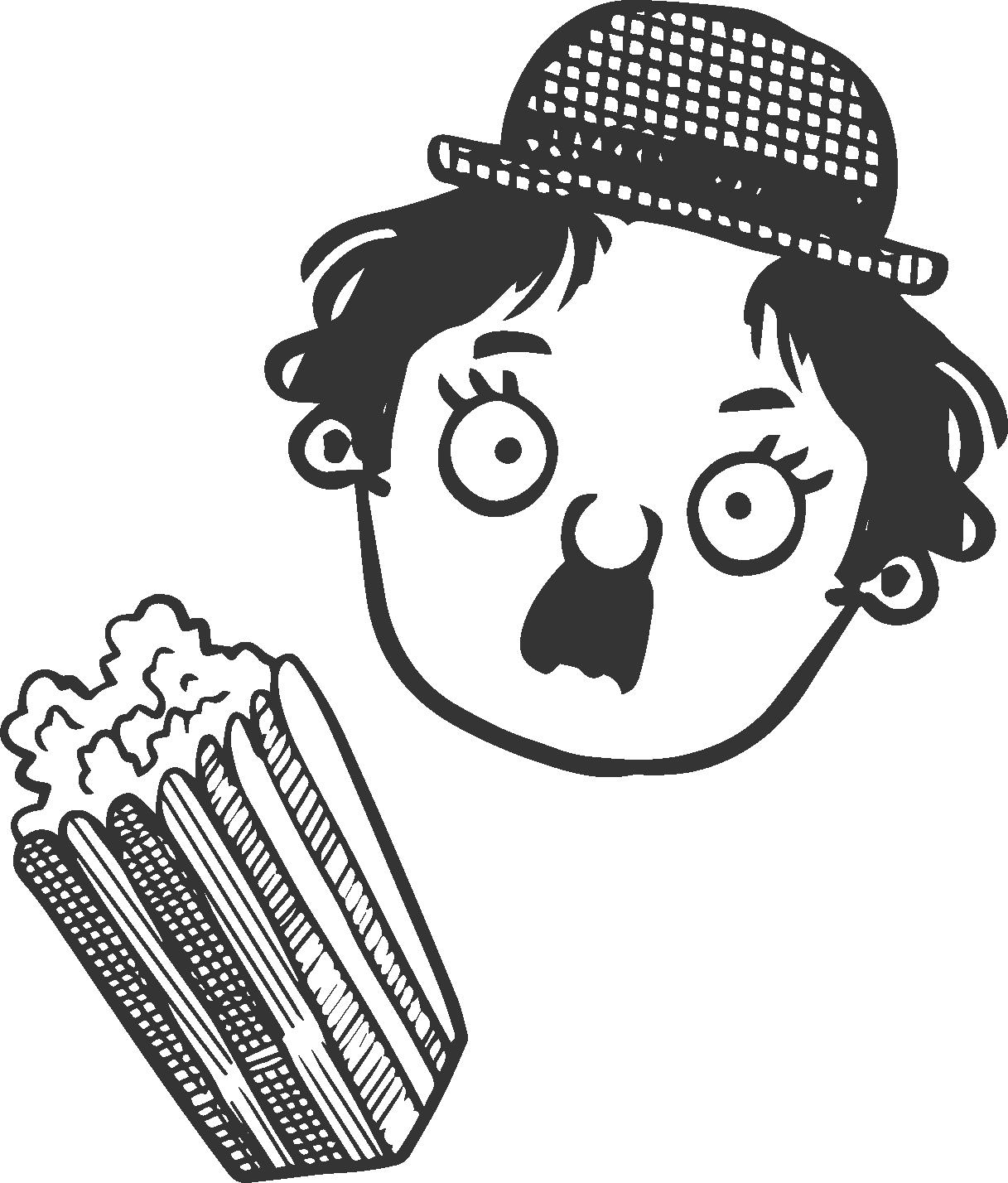 CharlieChaplin mit Popcorn Handgezeichnet